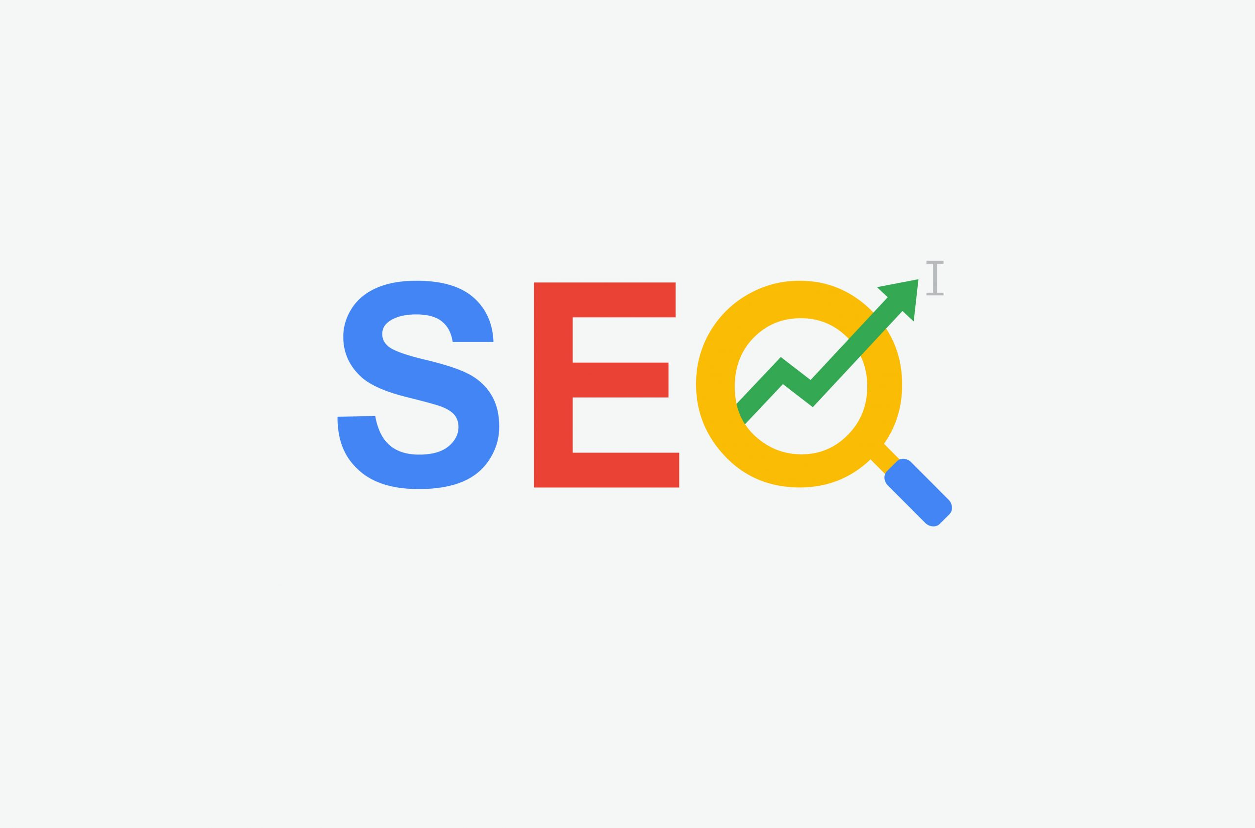 SEO (search engine optimization) minimal flat logo with magnifying glass, arrow and cursor symbol. multi color design.